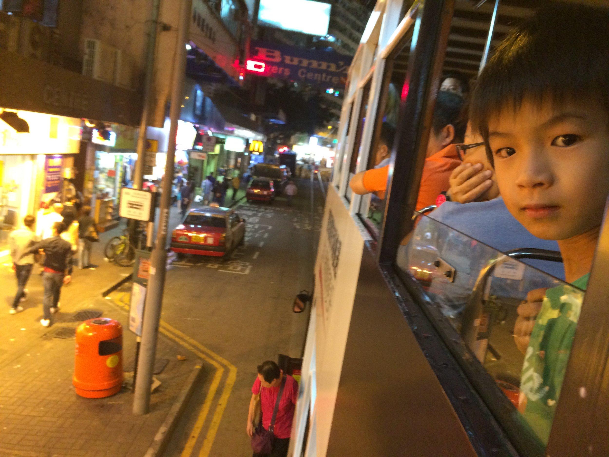 Riding a tram across Hong Kong Island