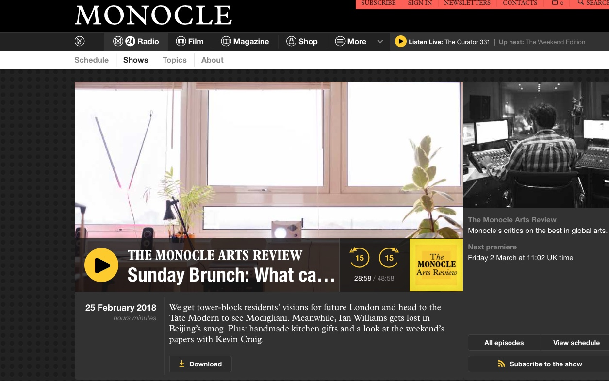 Sunday Brunch. Discussing my satirical novel, Beijing Smog, with Georgina Godwin on Monocle Radio's Arts Review. At one point she asks if the novel is dystopian. A year or two ago, I'd have possibly said yes. But no more. It's now looking scarily real - especially with Xi Jinping looking to change the constitution to extend his presidency and what has become the most repressive period since Mao. Click on the image above for more.