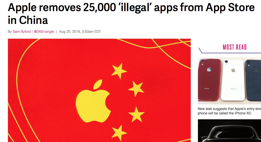 More insight into Apple's behaviour in China. The 25,000 figure comes from Chinese media. Apparently 4,000 contained the word 'gambling'. It has also admitted to removing more than 700 VPNs at the behest of the Chinese authorities.  Needless to say the Communist Party has a wide definition of what is 'illegal.' This apparently includes the app 'Whack An Alien' from my novel Beijing Smog, which is just a game. As usual, Apple is saying very little. It's mantra is 'we are just obeying the law.' In the US of course, it puts up a fight (remember the battle with the FBI over access to the iPhone of the San Bernardino shooter) and pontificates about privacy as a human right. In China, it meekly obeys.  Click on the image above for the full story