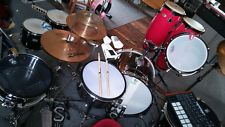"""Here is a pic with the 14' in use but set is not together by any means..As you notice I have different types of heads on different drums. Still in the prototyping and not pretty stages no doubt. Lol. I tweeked the snare for a while today and got much better reaction than previous ones so far with your head.  Prism 14"""" 3Ply White Chris 4/3/2017"""