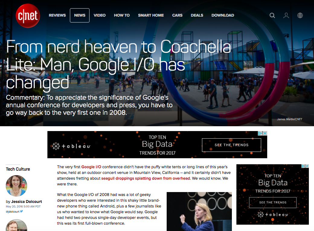Google I/O 2016, C|Net feature