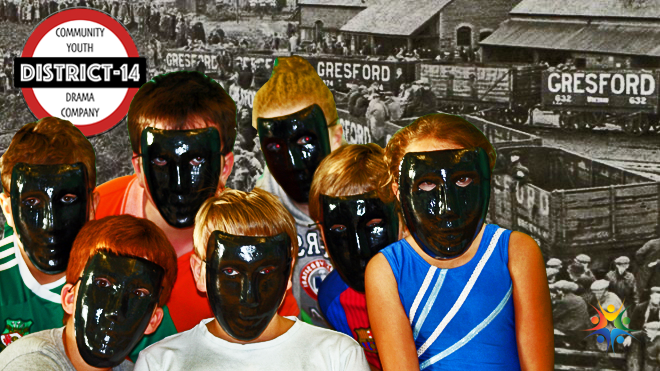 The blackened faces of the young miners.