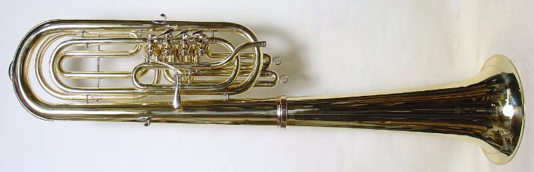 Eb bass (tuba) with bell over the shoulder