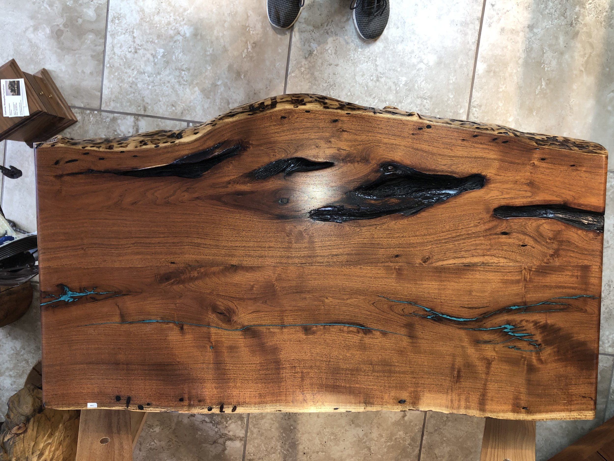 Mesquite Coffee Table with Turquoise Inlay and Live Edge