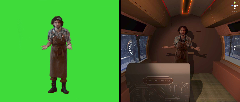 Gingerline Steve Green screen and final shot.JPG