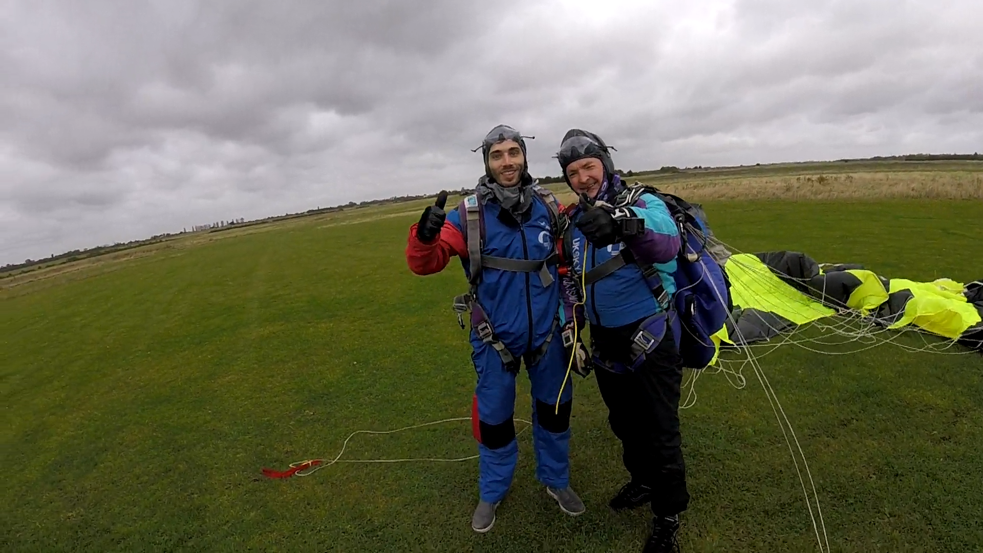 Emanuel Tomozei , lead developer on the project after a successful tandem skydive together with instructor, Nick Wilson, from North London skydiving