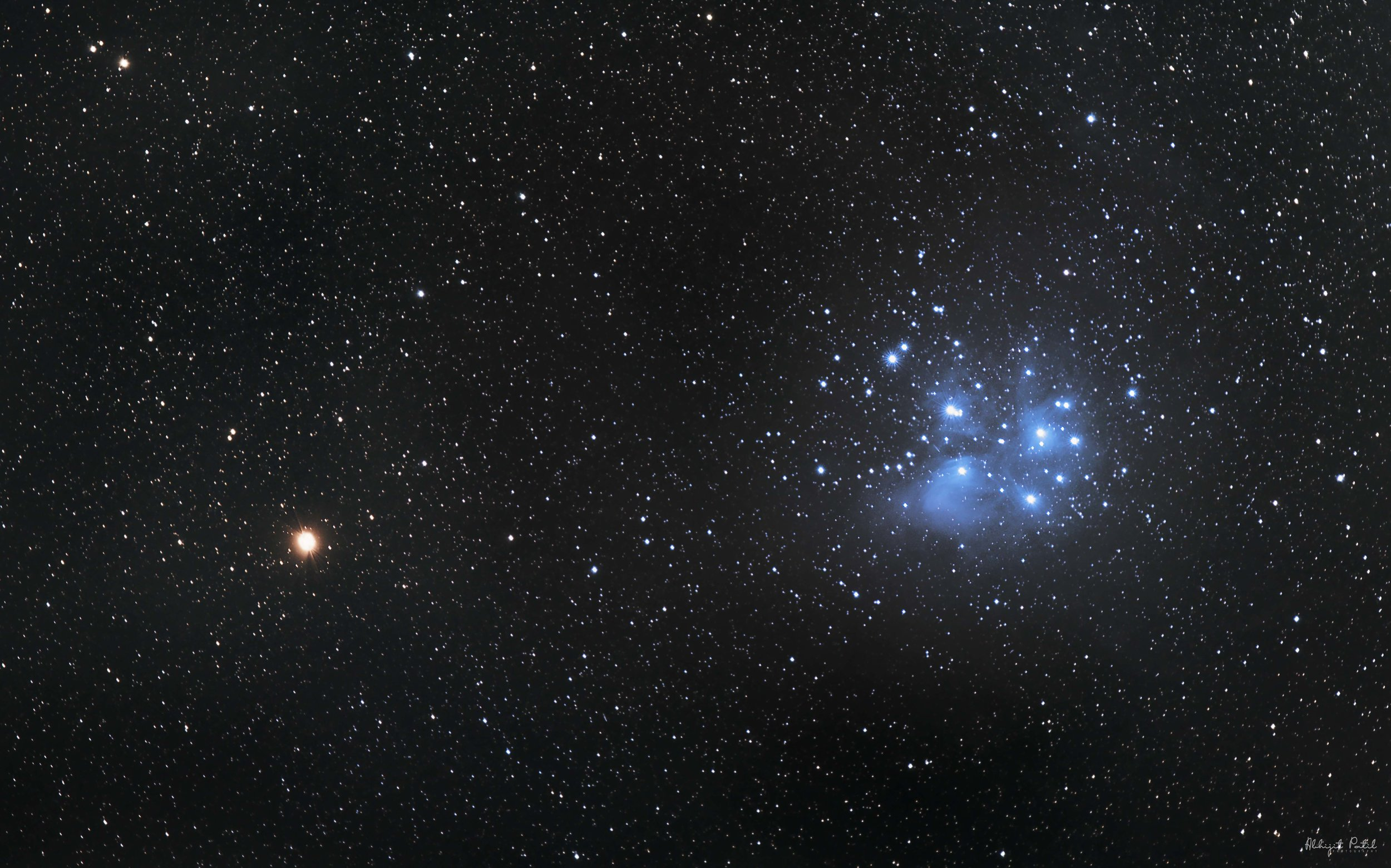 Spot the PLEIADES in the spring sky - Image of Pleiades and Mars featured in the Old Farmers Almanac online blog and social media accounts.