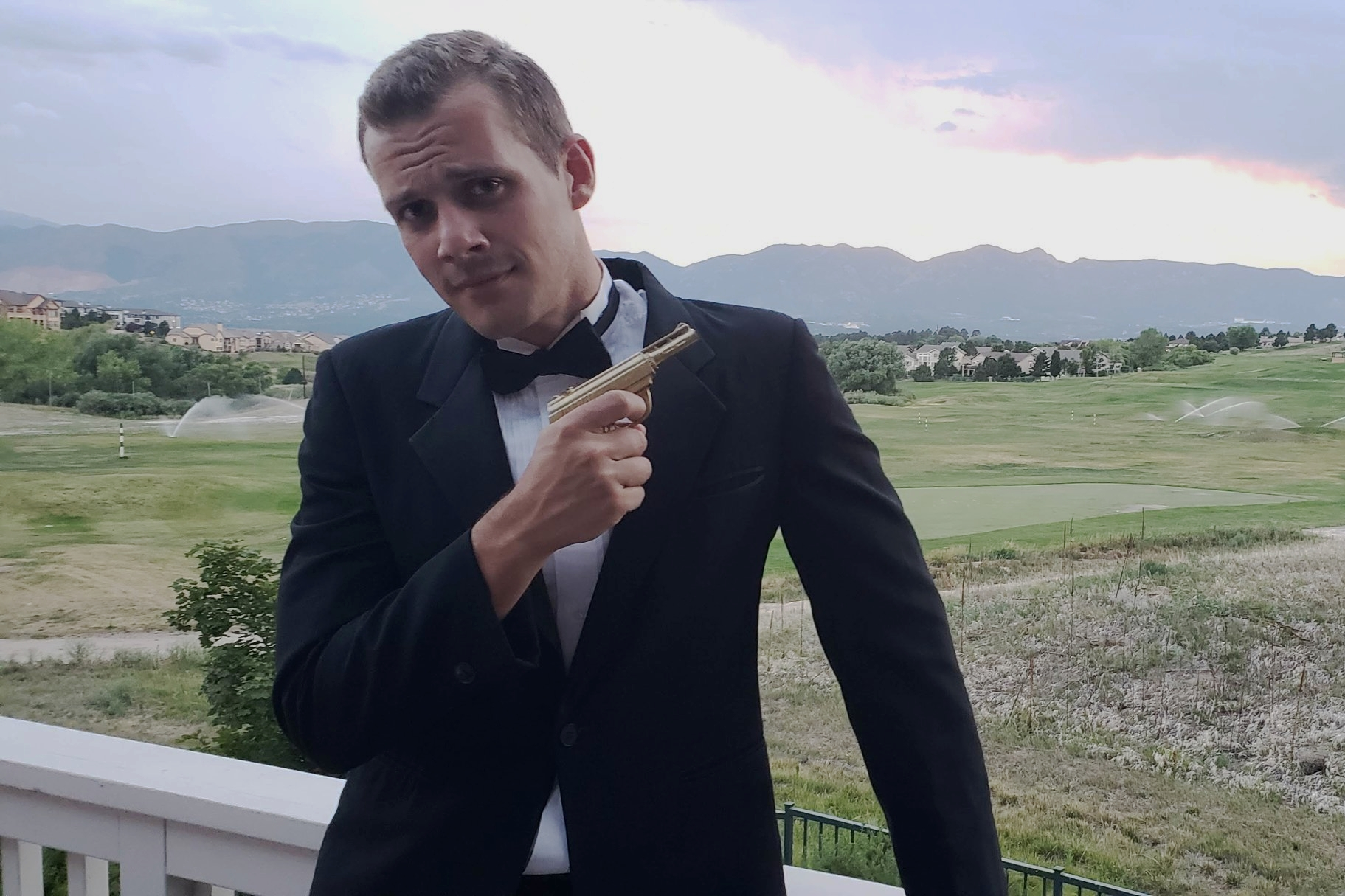 Free stuff from facebook saved me again with this free tux rental for a 007 theme party