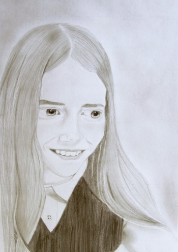 """"""" I didn't know how to draw very well but once I started taking lessons, Mrs. Scarlata convinced me to do a portrait of myself and I was terrified because I thought I'd mess up. She unlocked the door of art making for me and made me proud of myself.""""  - Lindsay Milam, High School BCS Student"""