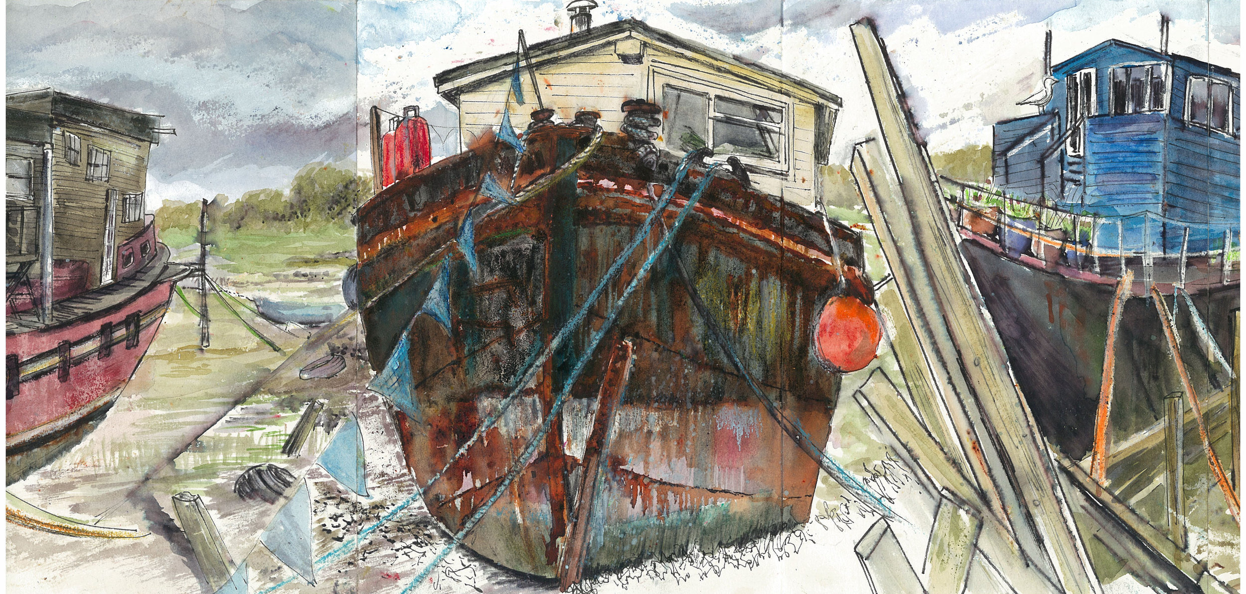 Rusty boat with bunting.jpg