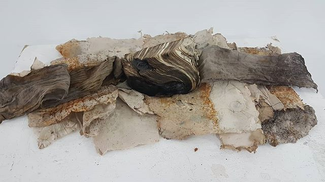 The first two photos show experiments with different materials exploring elements of the landscape around here, particularly the mudbanks. Eco dyed fabrics and handmade papers incorporating  ashes, earth from the river,gravel, earth pigments and rust dying. The last three are photos of the mudbanks.