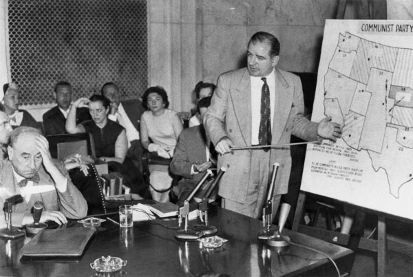 Chief Senate Counsel representing the United States Army and partner at Hale and Dorr, Joseph Welch (left), with United States Senator Joe McCarthy of Wisconsin (right), at the Senate Subcommittee on Investigations, McCarthy-Army hearings, June 9, 1954.
