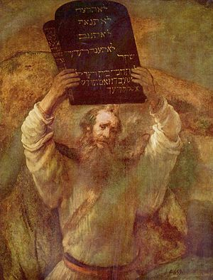 Moses Breaking the Tablets of the Law (Rembrandt 1659)