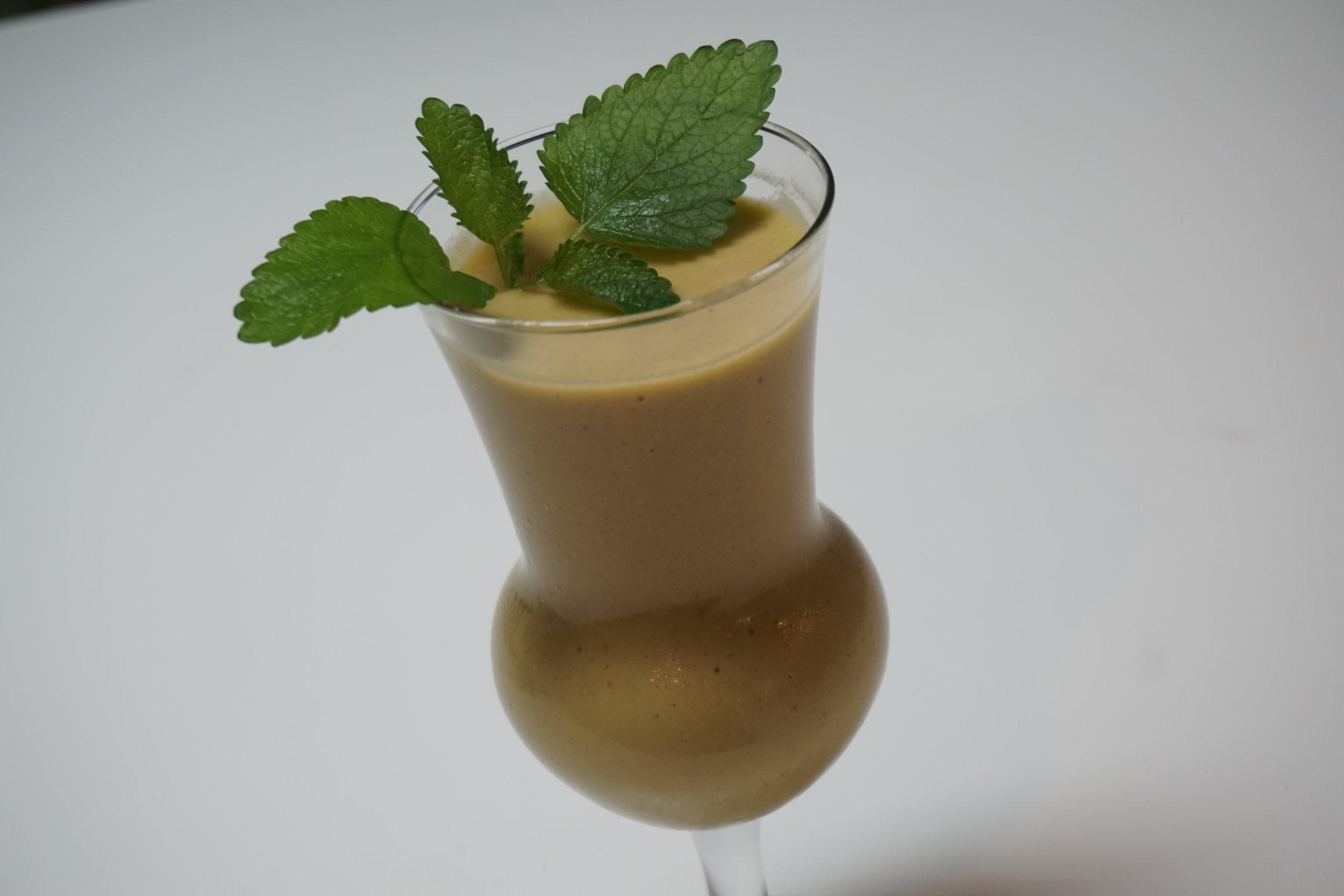 Green Tea Smoothie with Strawberry, Orange, and Lemon Balm