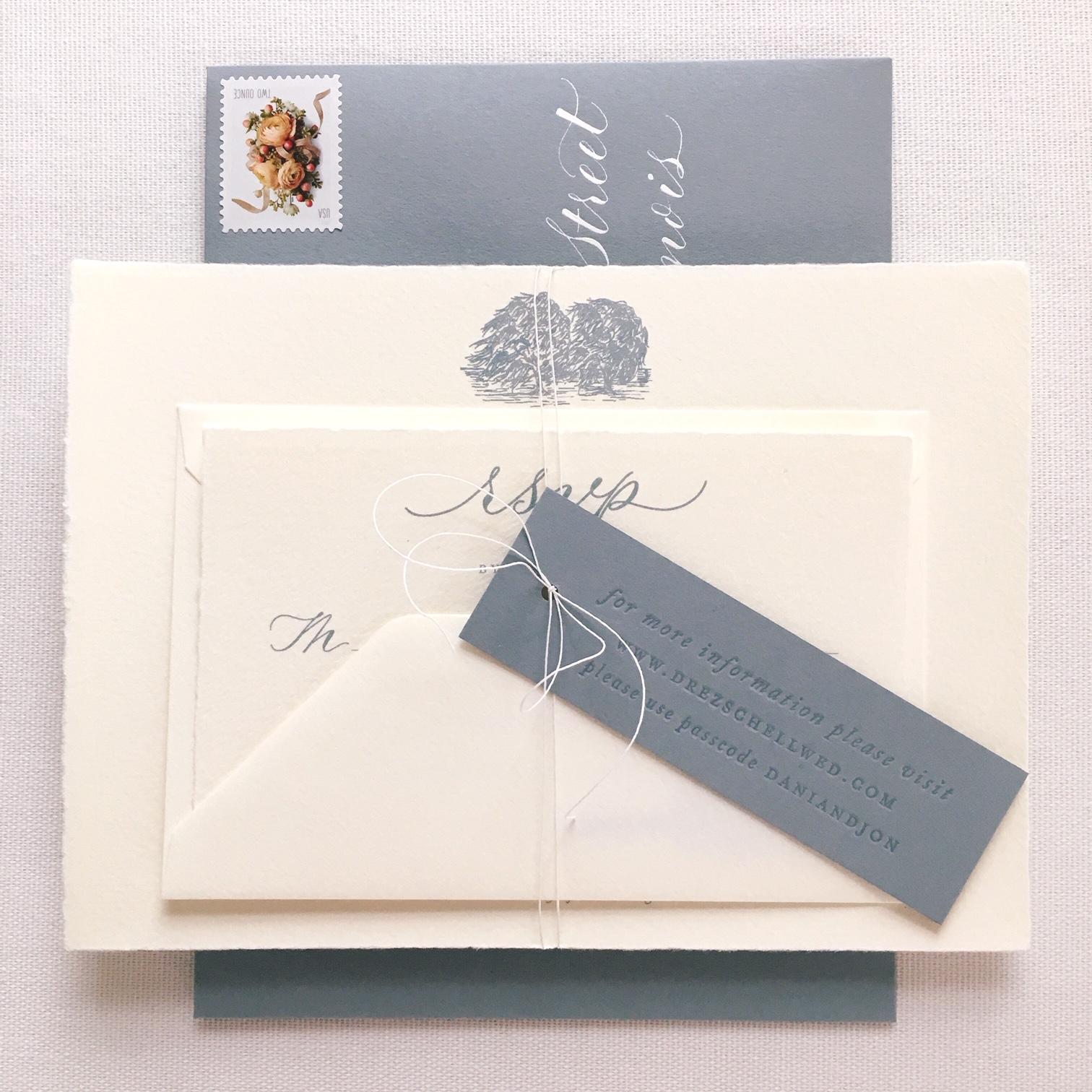 Spot Calligraphy, Stationery Design, Envelope Addressing: Joi Hunt  Letterpress Printing and Illustration: Lydia Evans/Letterpress by Lydia