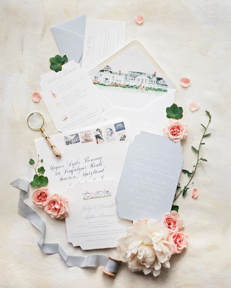 Stationery Design: Ruby the Fox  Spot Calligraphy and Envelope Addressing: Joi Hunt  Photography: Madeleine Collins Photography
