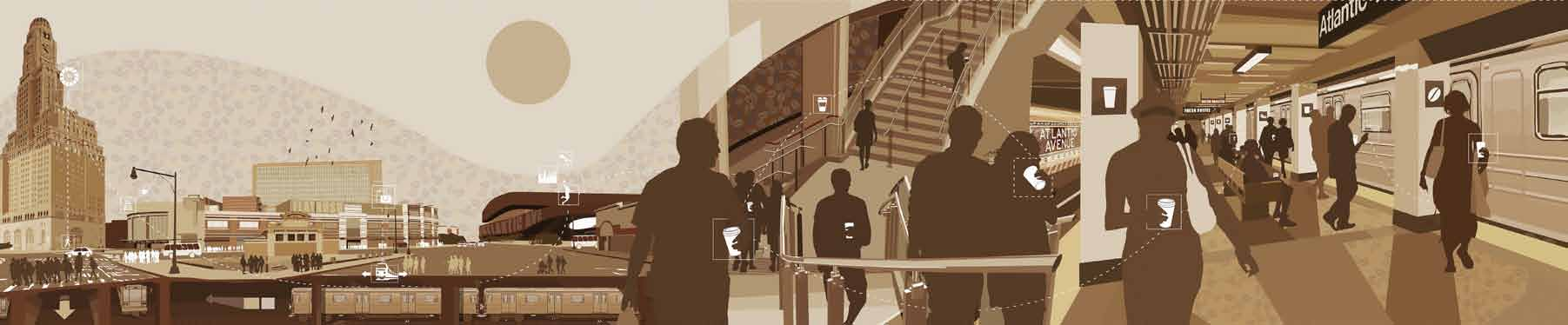 """""""This is a panoramic mural in muted colors depicting daily commuters. I created it for a Starbucks located in the Atlantic Terminal in Brooklyn."""""""