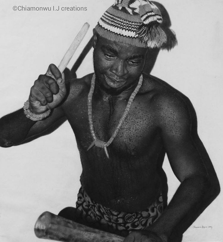 """Omenala (Tradition)  """"I am going to give a brief historical description and importance of three main objects that are of great significance in this artwork.  First, I will start with the Cap; popularly known as the OKPU-AGU among the Igbo people of Nigeria, West Africa. The okpu-agu is made with woolen threads, and its color is mainly of the color red, white and black . It is mostly worn by elderly men or men of chieftaincy titles. The Okpu-agu is worn on special traditional occasions like coronations, new yam festivals, marriage ceremonies, title takings etc.  Secondly, The neck and hand beads or coral beads. Popularly called AKA in Igbo dialect. The color of these beads are mostly white, red, and of the orange color. They are worn on the right hand and on the neck, by men and women, on special occasions like the fertility dances, festivals, marriage ceremonies, title takings, masquerade dances, coronations, and during traditional religious activities. However, the Aka symbolizes royalty, wealth, honor and indigenous identity. Although the Igbo people wear these beads, only a person born of royal blood is allowed to wear the white bead (AKA). Thirdly, The metal gong. Commonly called OGENE by the Igbo speaking tribe. The Ogene instrument is historically made by the Igbo people of Nigeria which is the most important metal instrument of the people. It is made by specialist blacksmiths. The instrument is flattish, conical shape and is hollow inside. The sound of the Ogene when struck with a wooden stick, comes from the vibration of its iron body. Ogene is not only used as a musical instrument during traditional ceremonies, but also as a means of communication, to pass out messages to the people or to call for village gatherings in different Igbo communities.Furthermore, Ogene is used in summoning up spirits. During the traditional wrestling matches that takes place in these communities , the ogene is used in raising up spirits of the wrestlers to show their manly stren"""