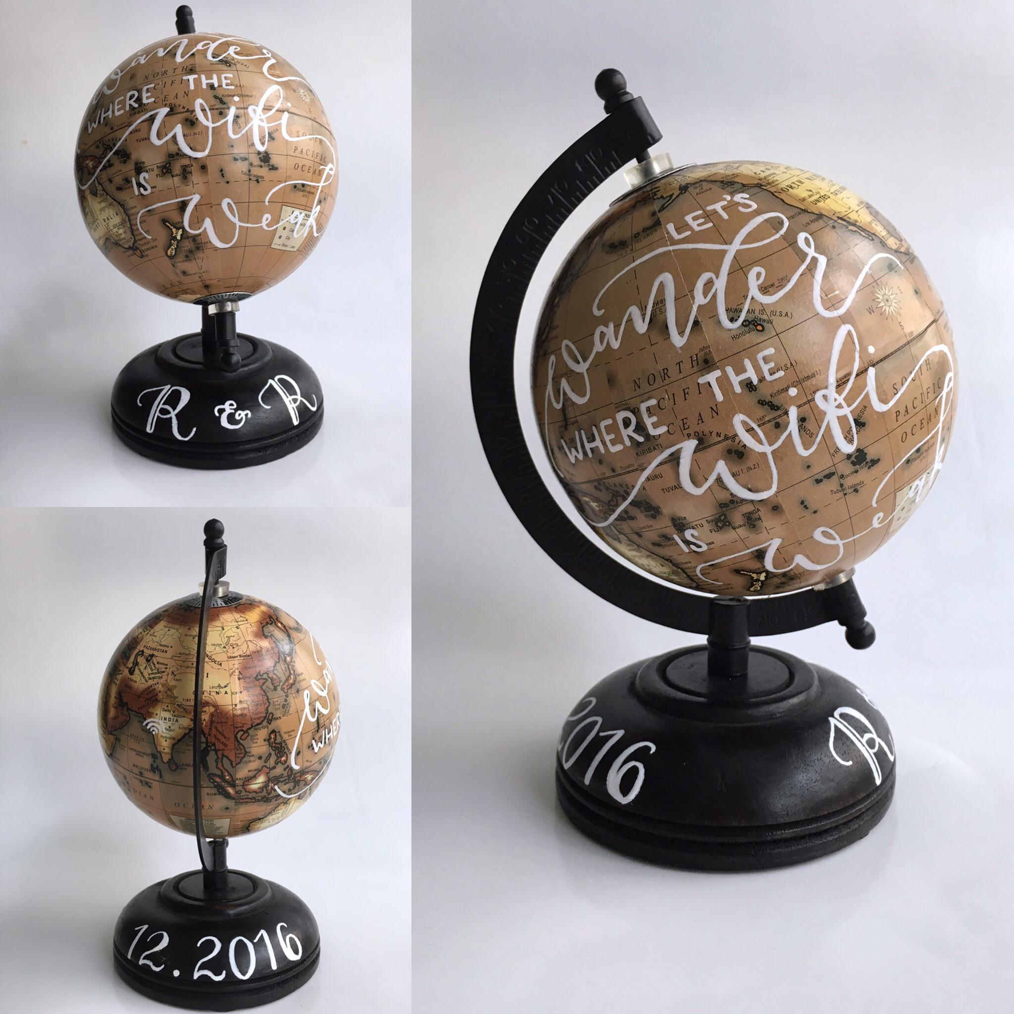 custom calligraphy on globe
