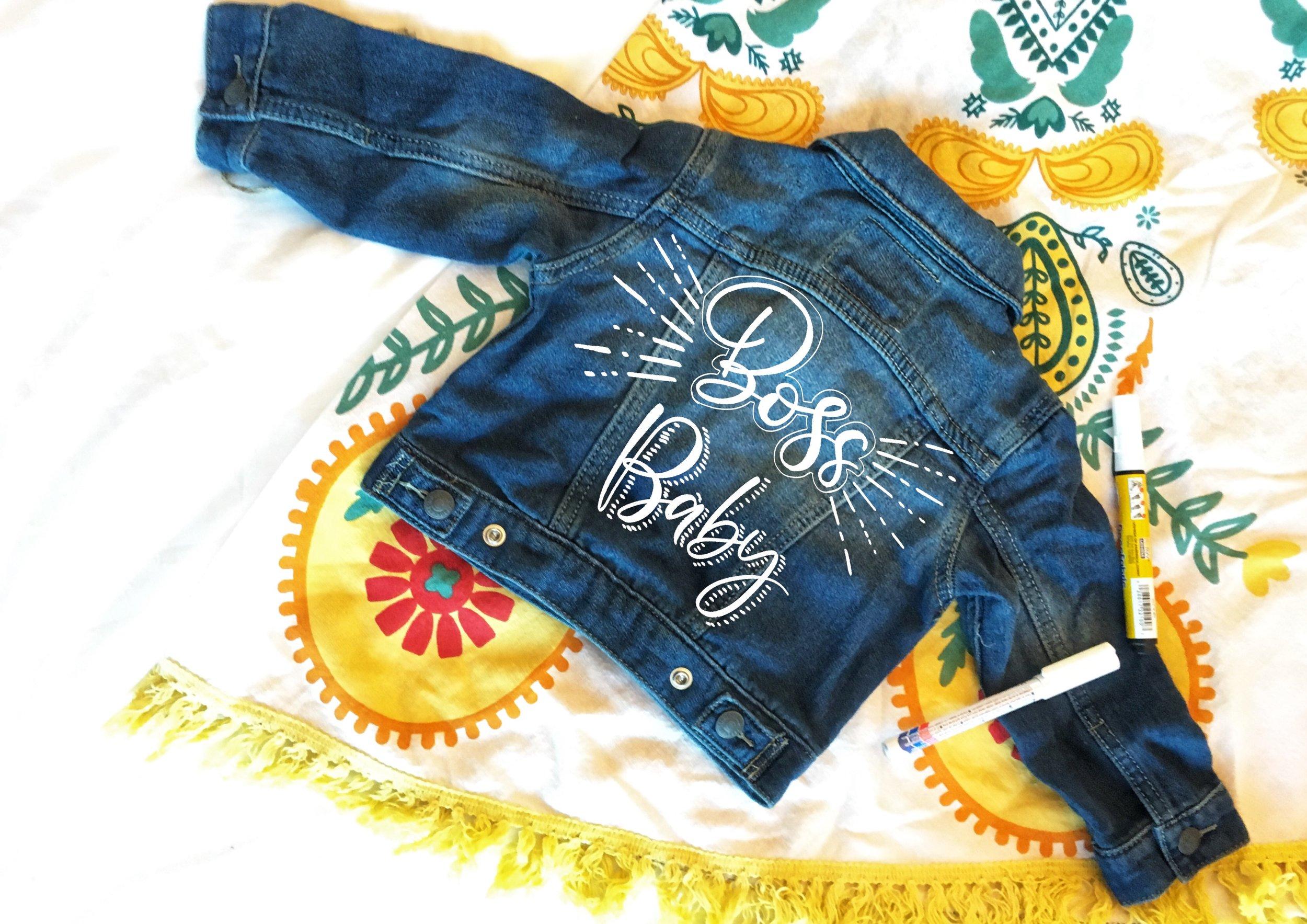 custom calligraphy on denim jacket