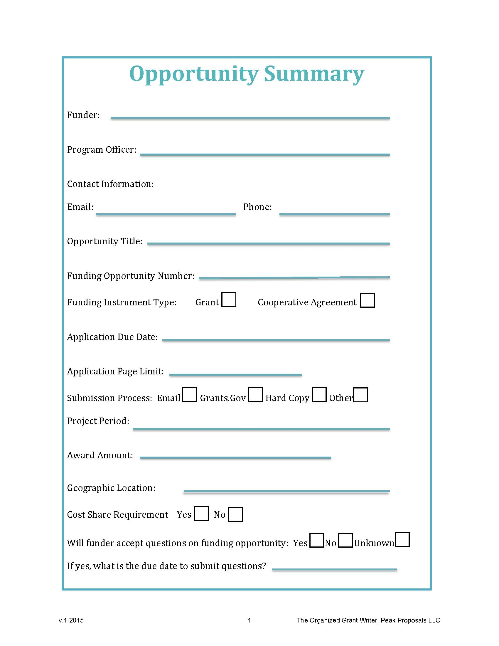 Free Download: Opportunity Summary     Worksheet
