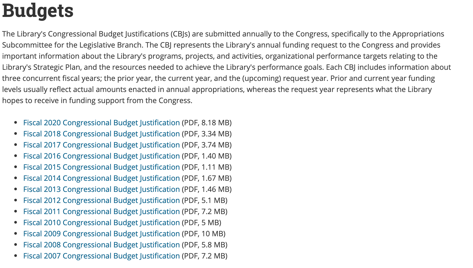CONGRESSIONAL BUDGET JUSTIFICATIONS accessible on the Library of Congress website