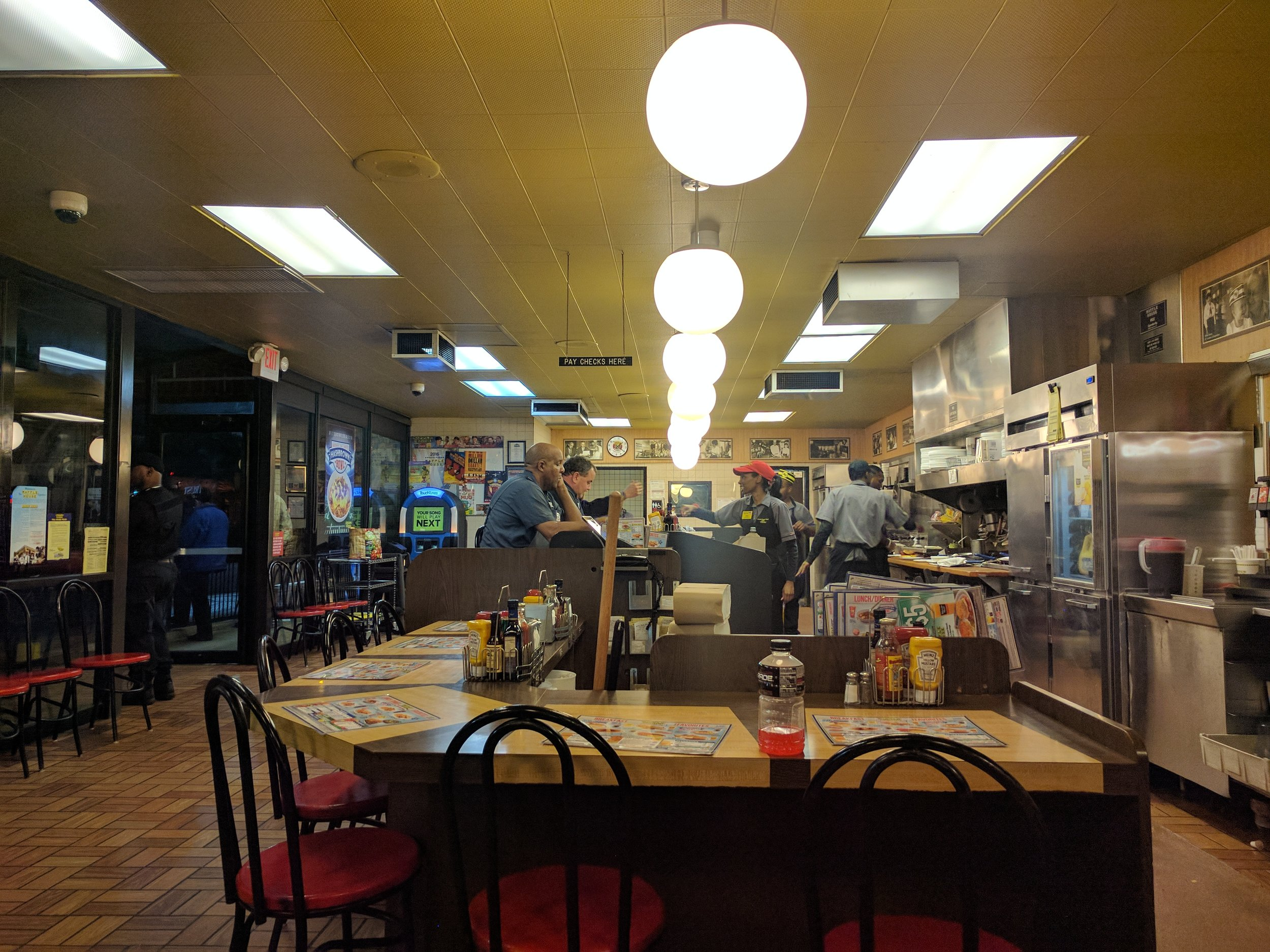 Waffle House, located in 1,614 locations within the contiguous United States. Open 24 hrs.
