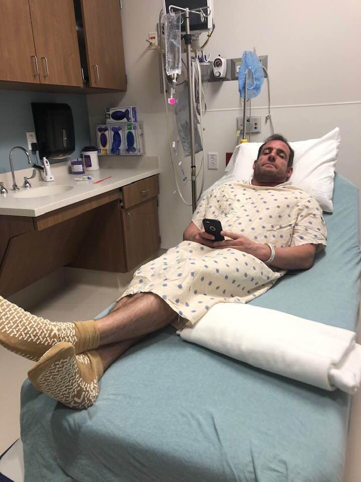 FEBRUARY 7, 2019 - Former Lions Pride Sports Champion Mike Dell minutes before undergoing surgery to repair his ACL.