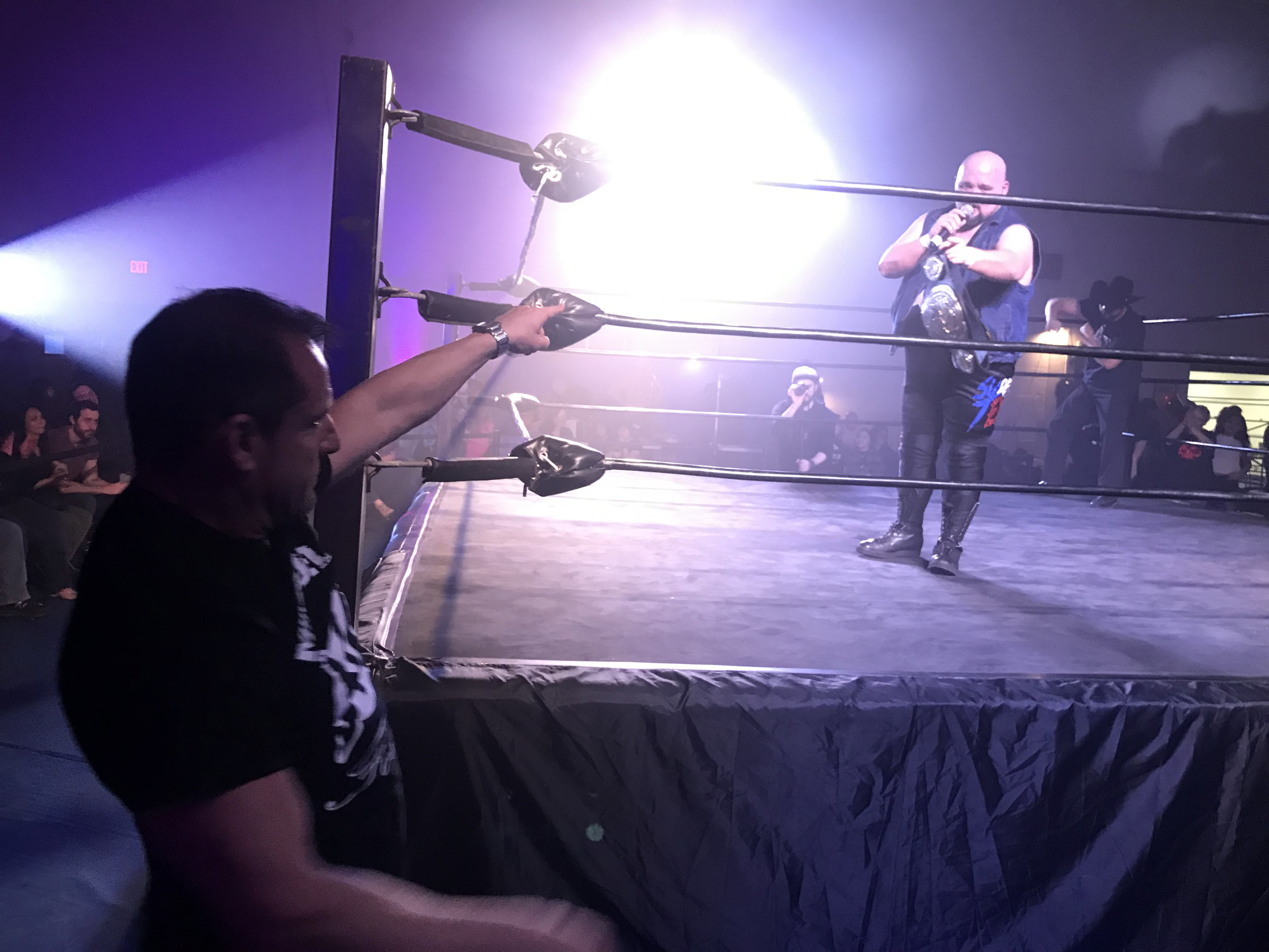 """MARCH 2, 2019 - Brent McKenzie thanks Mike Dell for the helping hand in McKenzie's match against Moonshine Mantell. With the win, """"Super Tex"""" earned Aaron Presley his general manager job back, unseating Chase Paradise."""
