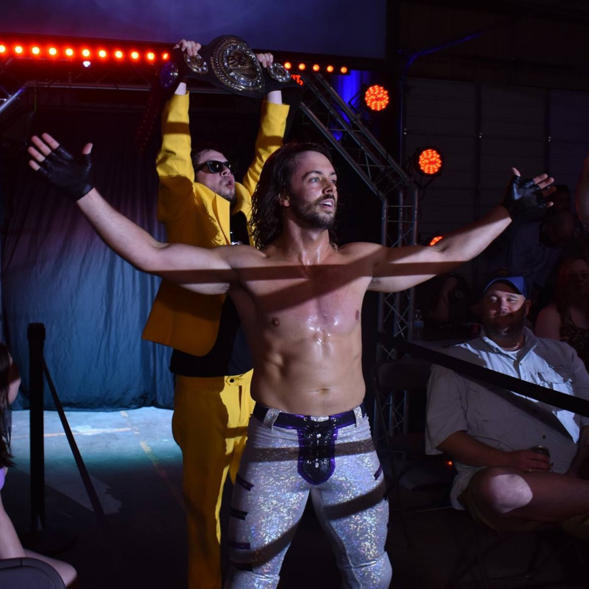 APRIL 5, 2019 - Will Allday celebrates winning the 360 Title with Chase Paradise in Bryan. (Sarah Jarvis England)