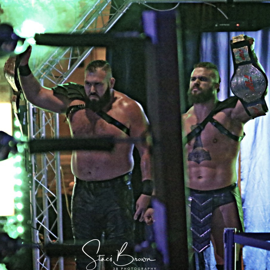 MARCH 10, 2018 - The End, Parrow and Odinson, show off their Full Impact Pro Tag Team Championships before their match against Scot Summers and Gregory James. (3B Photography)