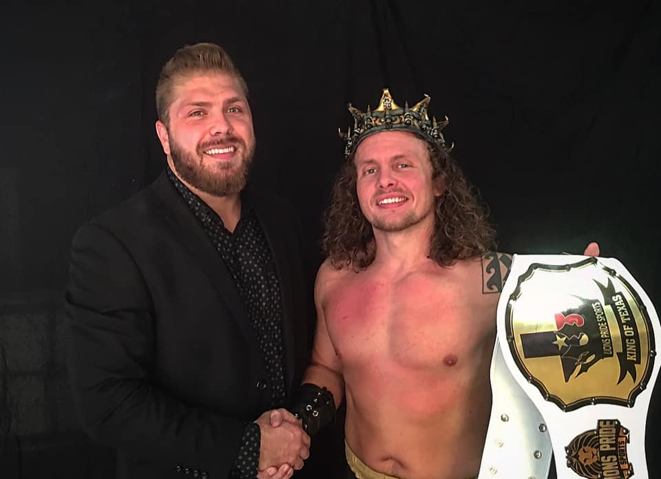 JULY 7, 2019 -  Barrett Brown (right) is congratulated by Lions Pride Sports Owner Houston Carson after winning the first King of Texas Tournament