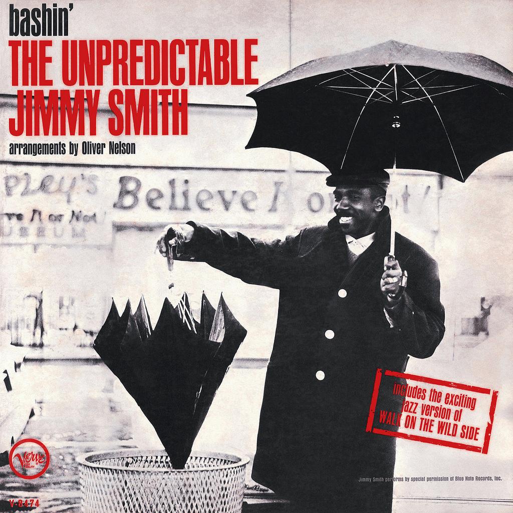 Jimmy Smith,  Bashin': The Unpredictable Jimmy Smith , 1962  Photo: Chuck Stewart Design: Sung Lee