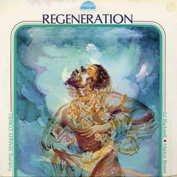 Carole Byard's album art for Stanley Cowell's  Regeneration , Strata-East, 1976