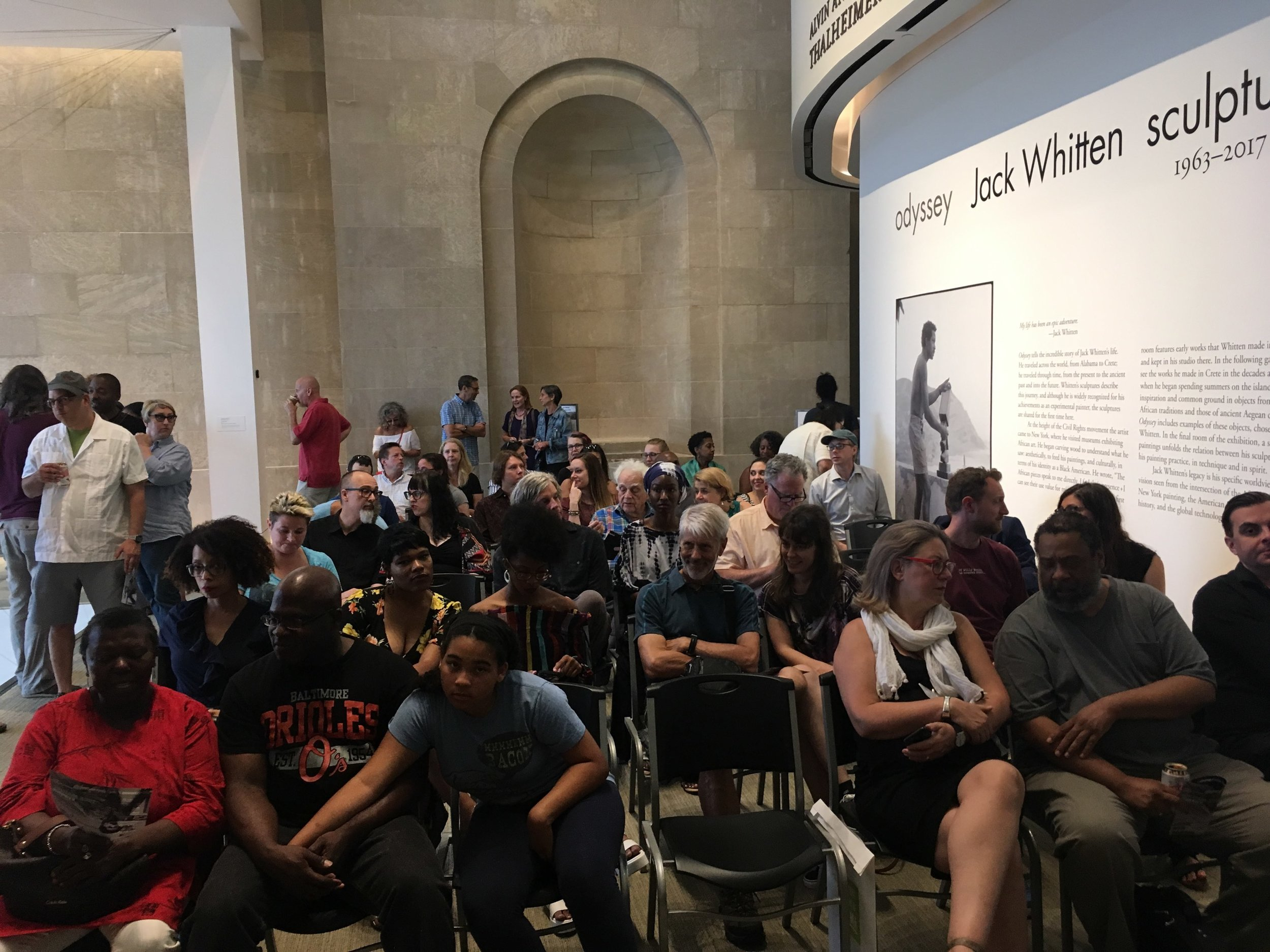 The crowd at the BMA waiting for the listening party to begin...