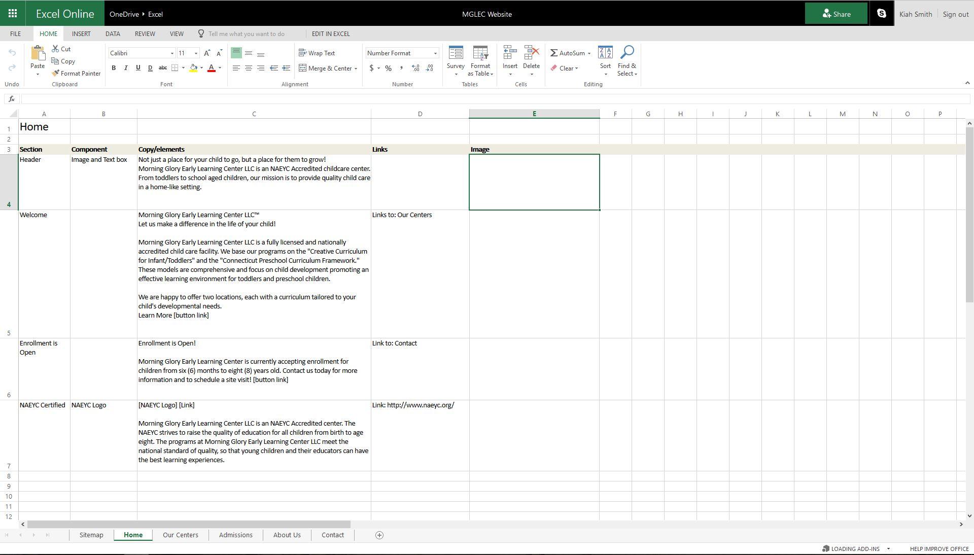 Excel Homepage Layout