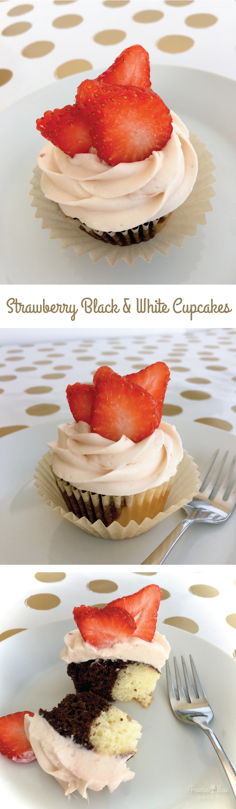 Strawberry Cream Black and White Cupcakes by Fronie Mae Bakes