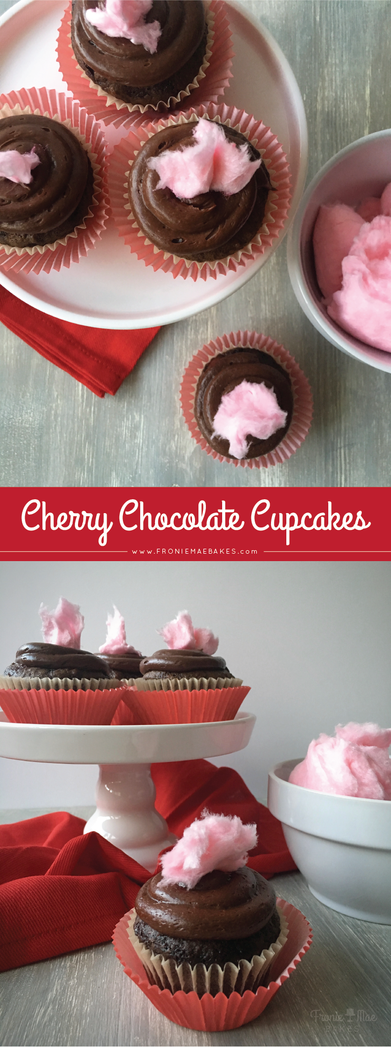 Simple Cherry Chocolate Cupcake Recipe by Fronie Mae Bakes. www.froniemaebakes.com