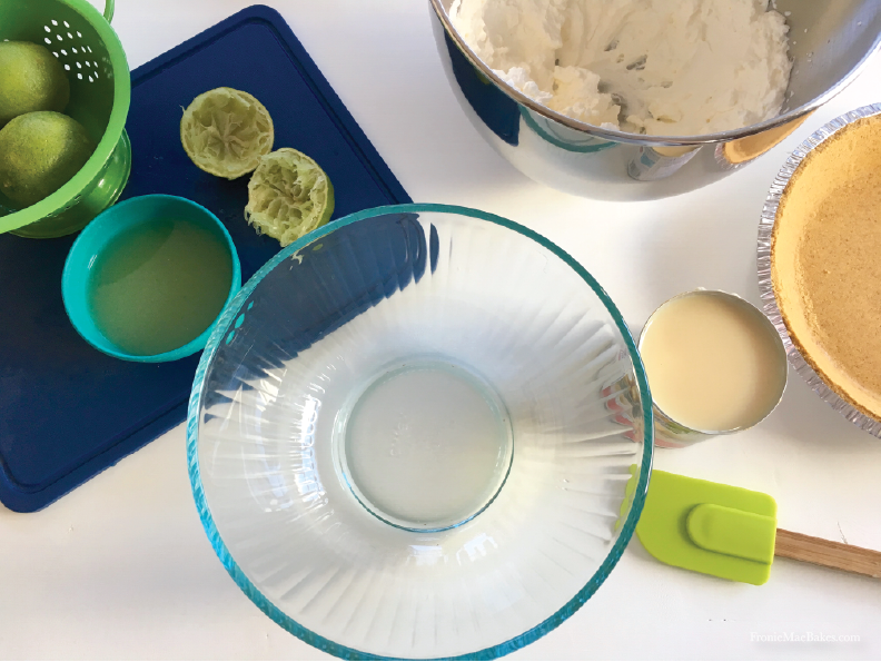Easy To Make Four Ingredient Frozen Key Lime Cream Pie. Recipe on www.FronieMaeBakes.com