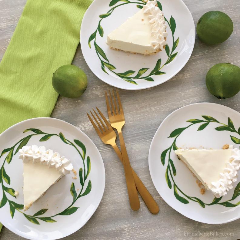 Easy To Make Four Ingredient Frozen Key Lime Cream Pie Recipe on www.FronieMaeBakes.com