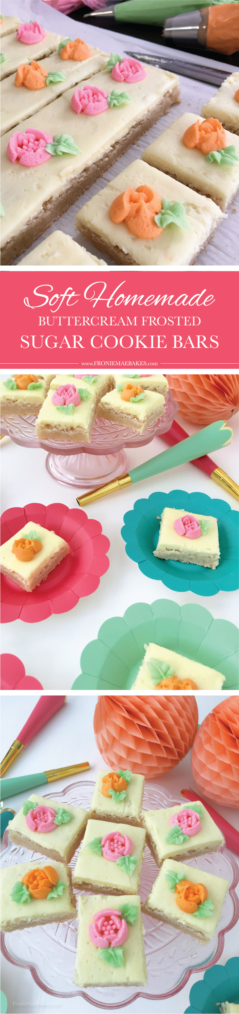 Make these Soft Homemade Buttercream Frosted Sugar Cookie Bars for any occasion. Recipe is here: www.FronieMaeBakes.com