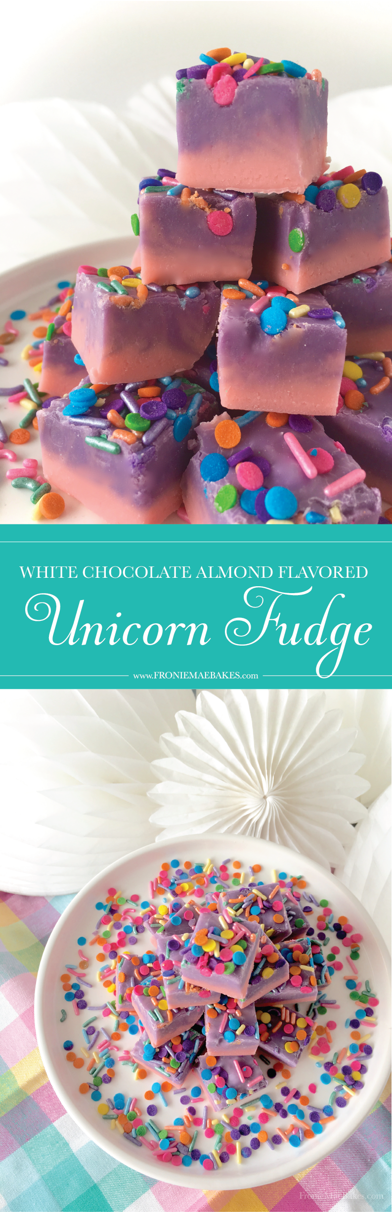 Make this incredibly easy White Chocolate Almond Flavored Unicorn Fudge Recipe for birthday parties or other colorful themed gatherings. www.froniemaebakes.com