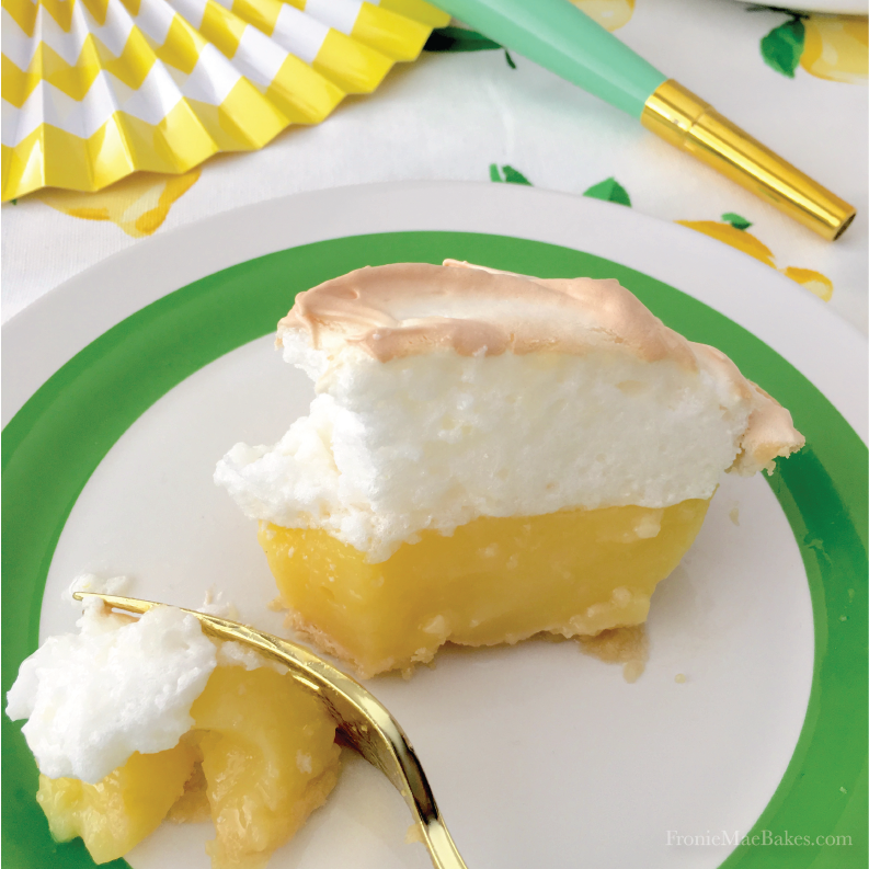 Make Wanda Mae's Homemade Lemon Meringue Pie Recipe today and enjoy the fresh taste of lemon and sweet fluffy meringue. www.FronieMaeBakes.com