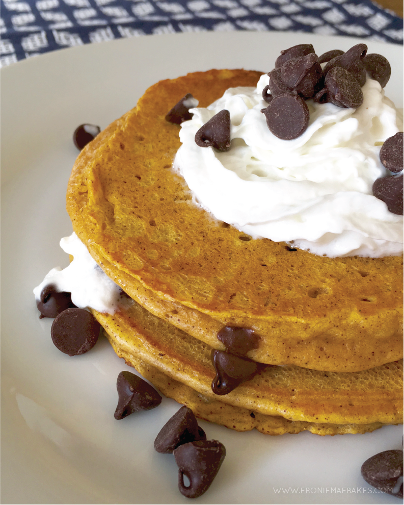 Make these Quick and Easy Pumpkin Pancakes today!  By Fronie Mae Bakes www.froniemaebakes.com