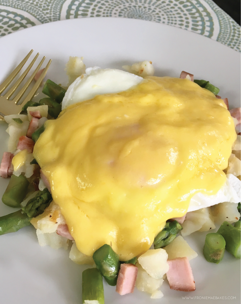 Make this delicious Eggs Benedict Hash from scratch with a few simple steps. Directions can be found on www.FronieMaeBakes.com