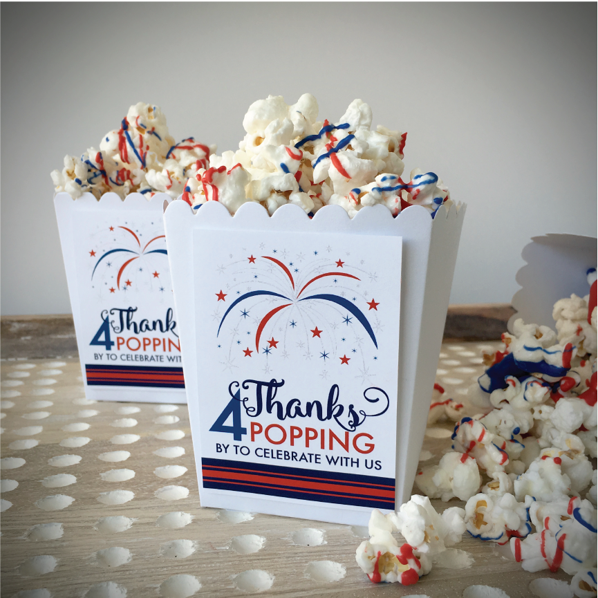 Make this delicious Red, White and Blue Chocolate Popcorn. Decorate with our FREE Favor Tag.