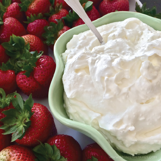 Make this super simple and delicious Sweet Lemon Cream Dip for your next party. SO fluffy and full of flavor! www.FronieMaeBakes.com