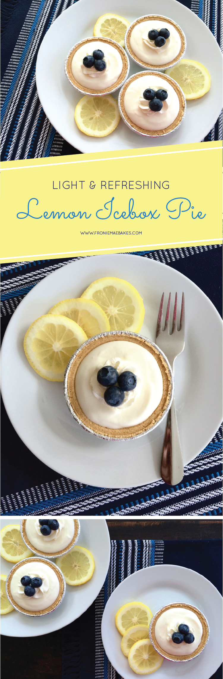 Make these small, but delicious Lemon Icebox Pies today. The perfect balance of sweet and tart. Recipe can be found at www.FronieMaeBakes.com