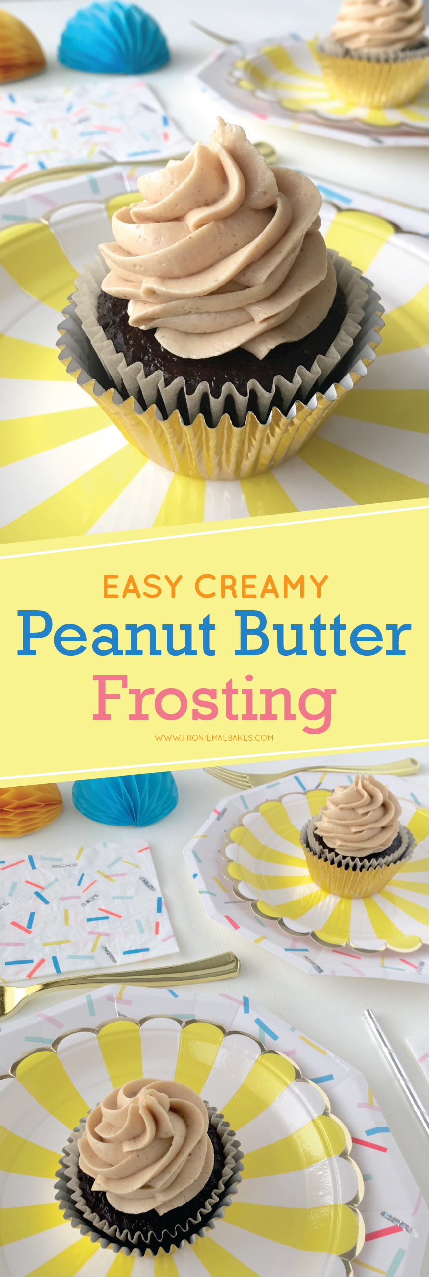 This Easy Creamy Peanut Butter Frosting Recipe is so delicious you will want to eat it by the spoonful! Recipe can be found at www.FronieMaeBakes.com