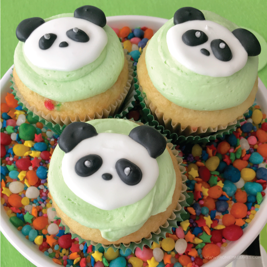 Make these Royal Icing Panda Cupcake Topper with our Free Printable Template found on www.FronieMaeBakes.com